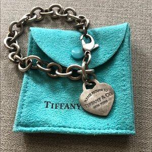 Authentic Tiffany Heart Charm Bracelet